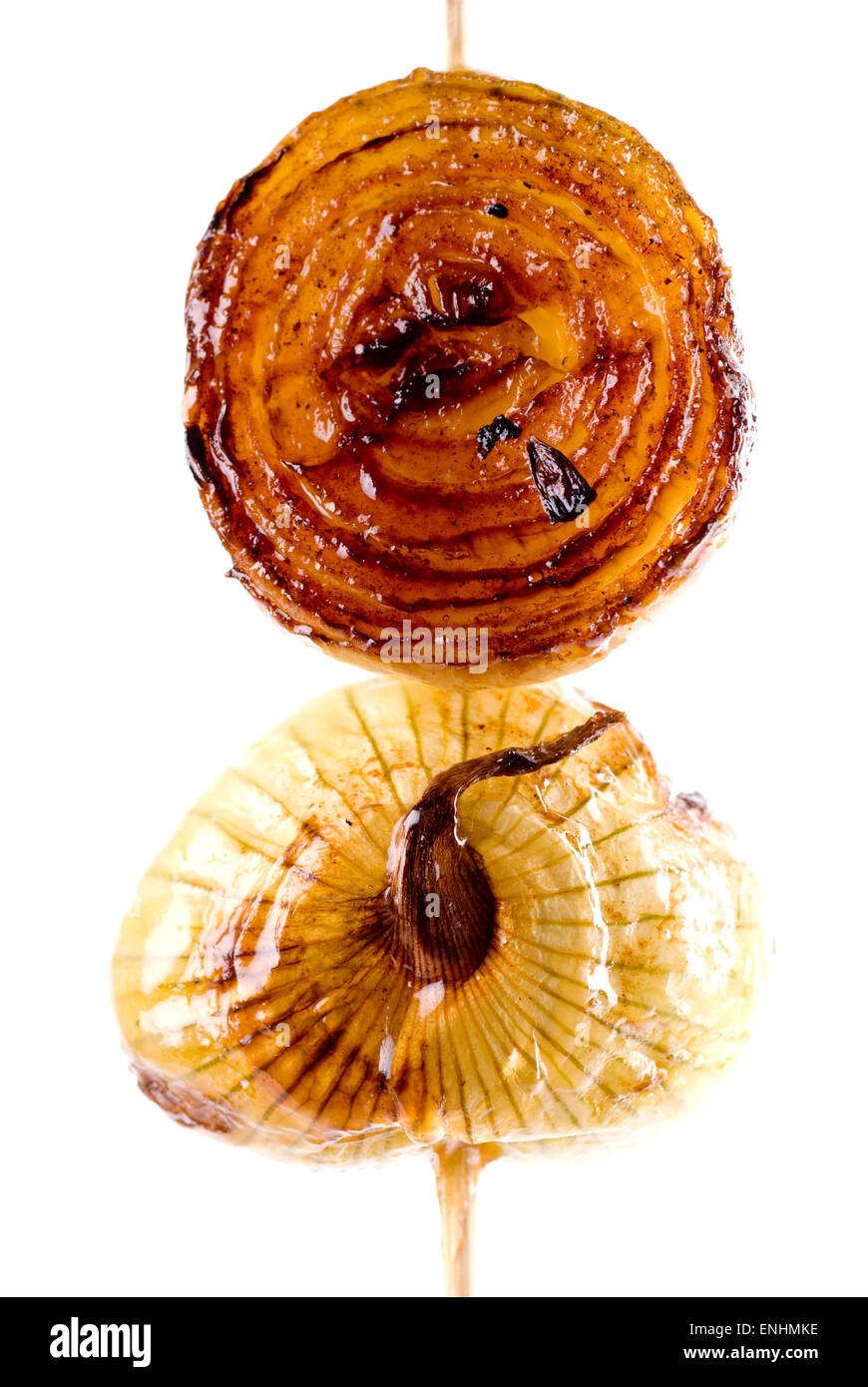 Grilled onion marinated in butter, olive oil and honey. - Stock Image