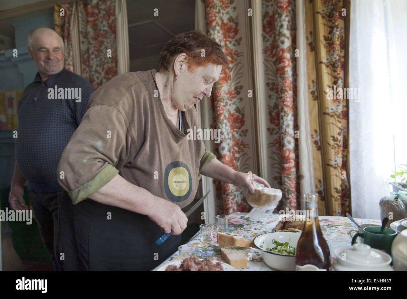 April 24, 2015 - Chernobyl, Ukraine - Ukraine. Pripyat. Chernobyl. Mr and mrs Lavriejenko. He is 59 en she 61...Several - Stock Image