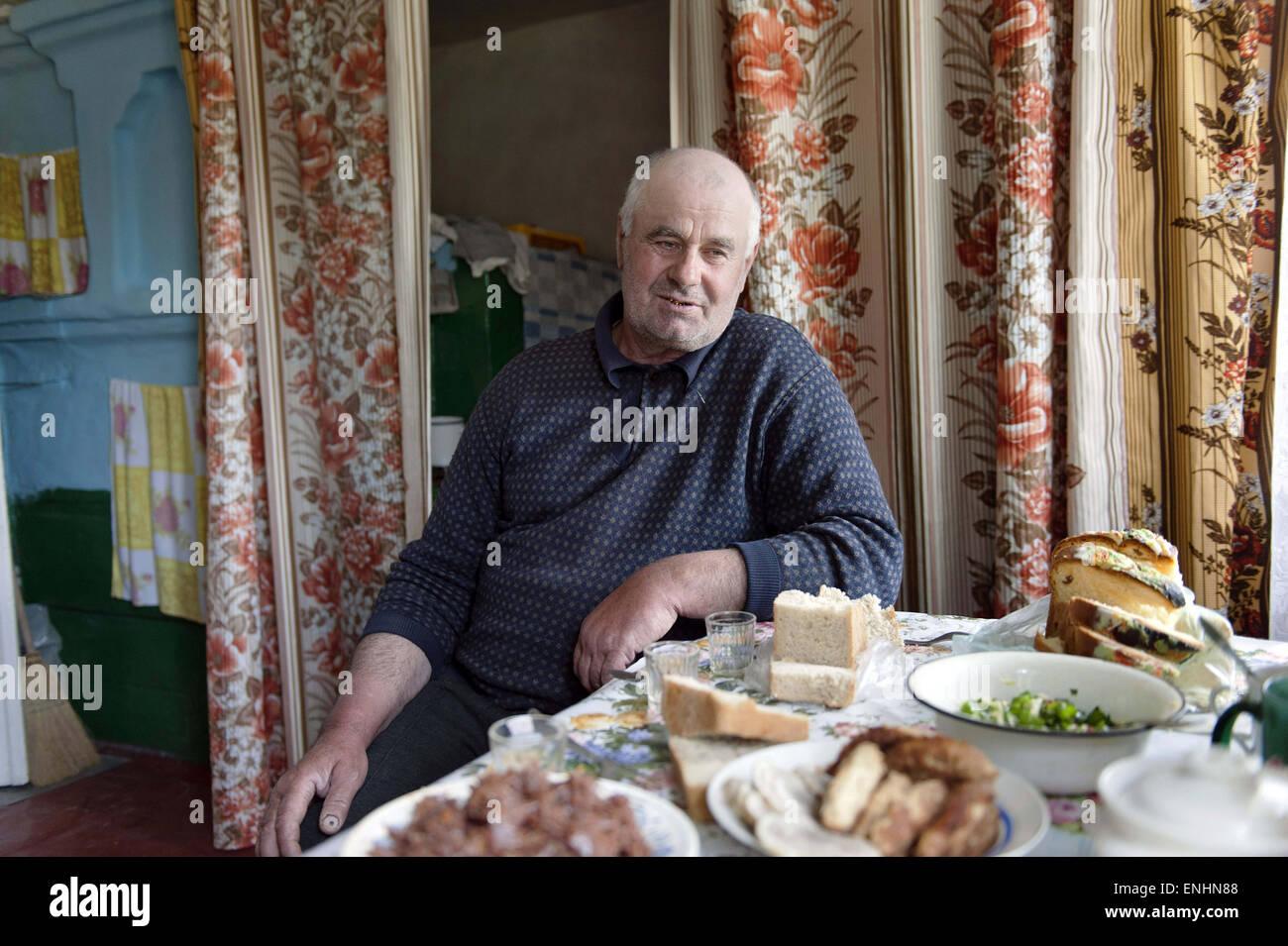 April 24, 2015 - Chernobyl, Ukraine - Ukraine. Pripyat. Chernobyl. Mr Lavriejenko. He is 59 years old...Several - Stock Image