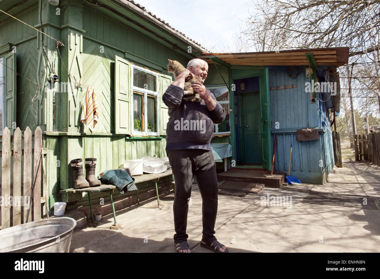 April 24, 2015 - Chernobyl, Ukraine - Ukraine. Pripyat. Chernobyl. M. Lavriejenko. He is 59 years old...Several - Stock Image