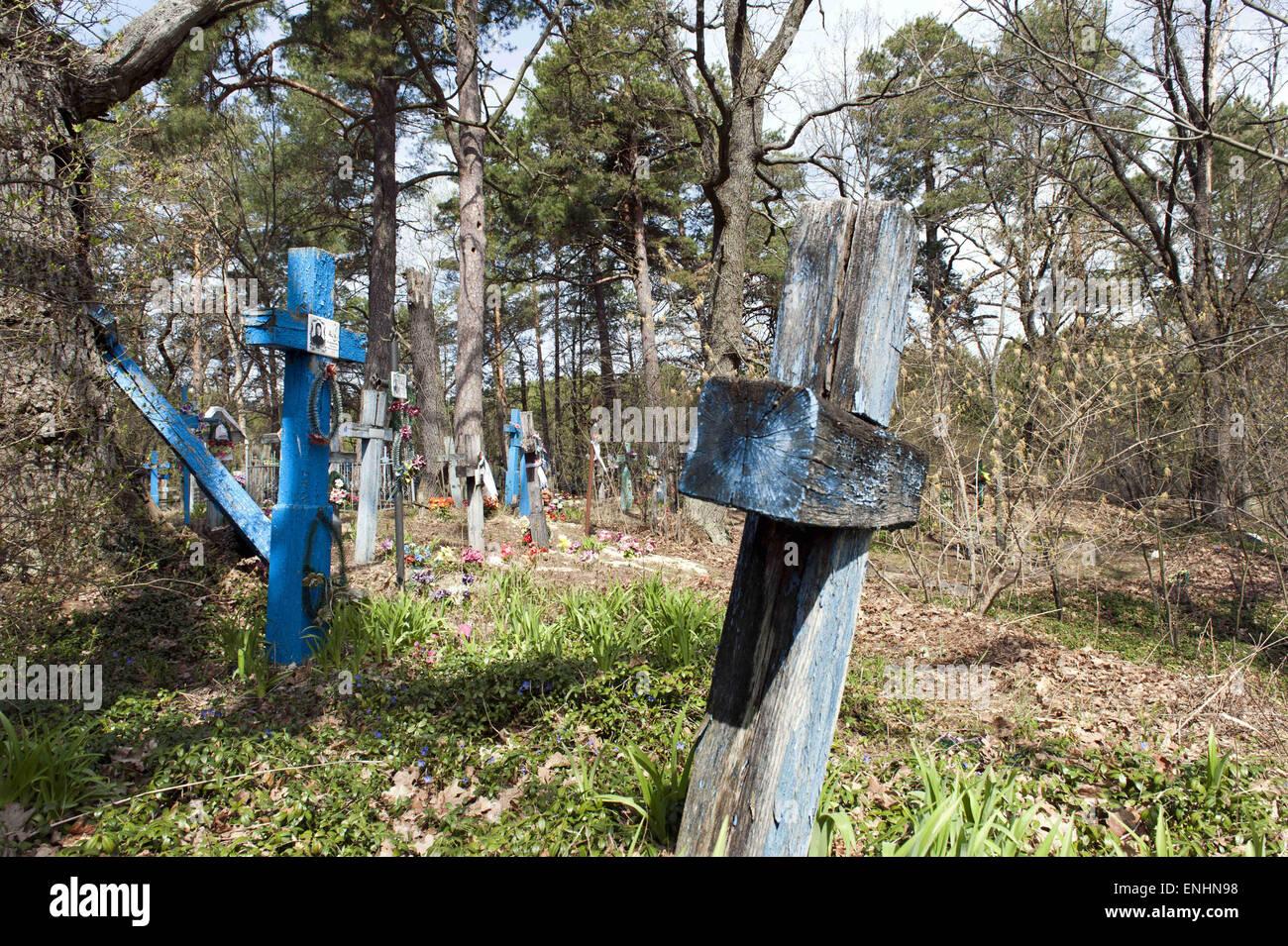 April 24, 2015 - Chernobyl, Ukraine - Cementary or grafeyard of self-settlers...Several hundred elderly people called - Stock Image