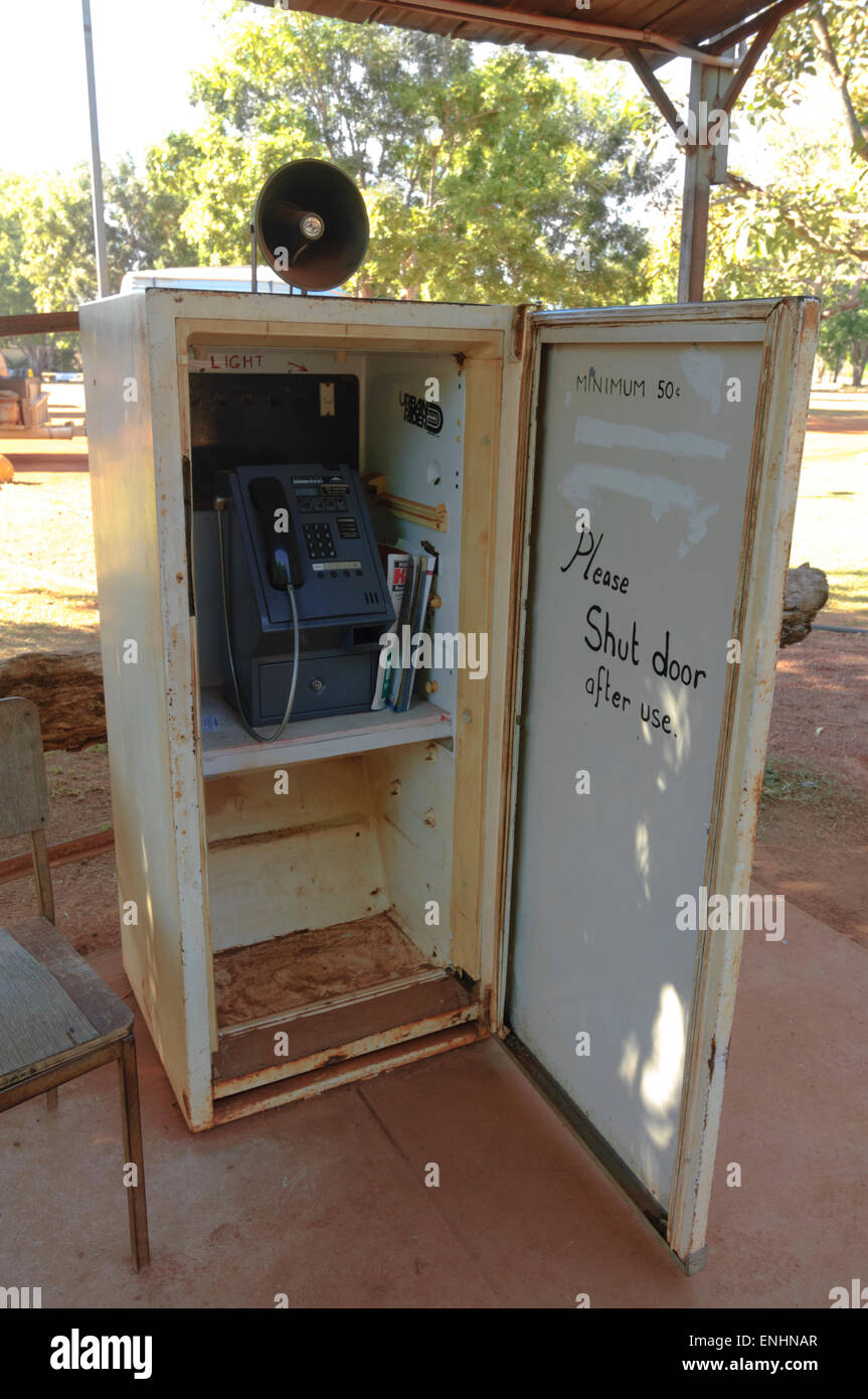 Telephone Booth in a fridge along the Drysdale Station, Gibb River Road, Kimberley, Western Australia - Stock Image
