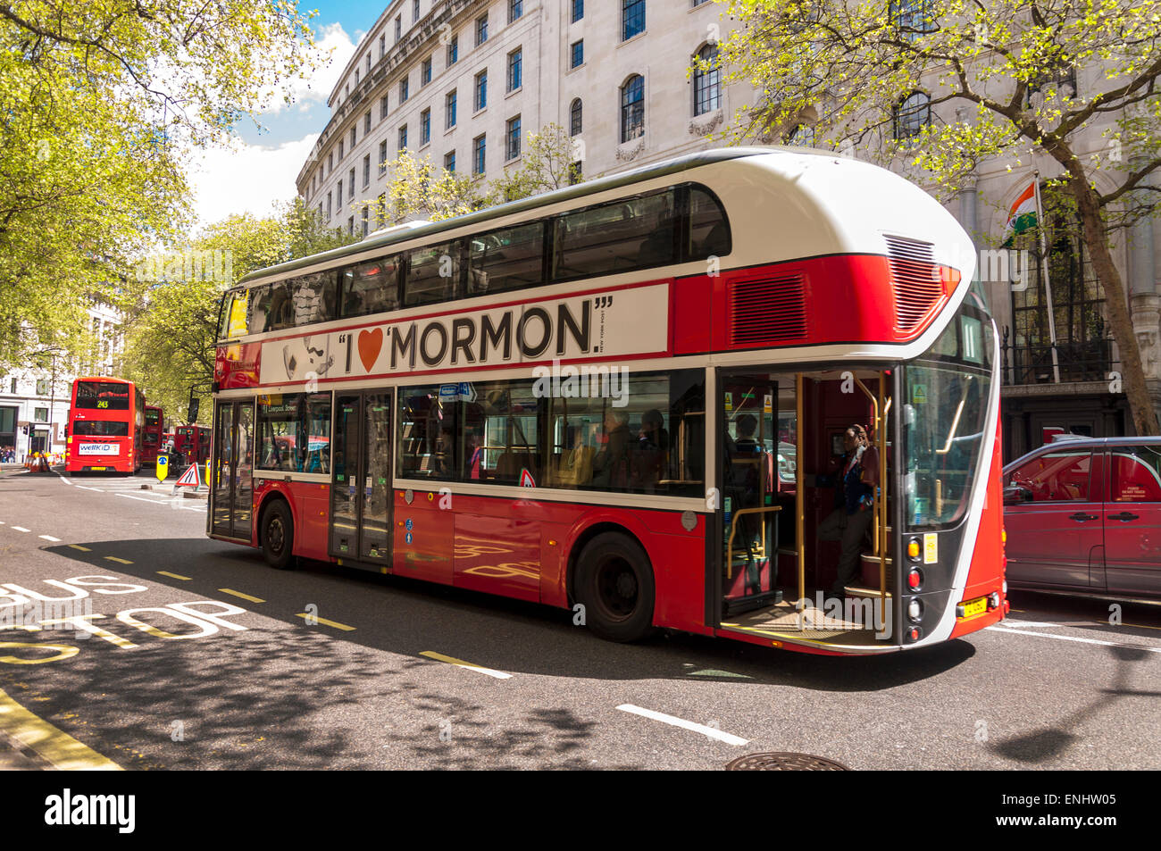 The New Routemaster, and colloquially as the Borisbus or Borismaster, is a hybrid diesel-electric bus operated in - Stock Image