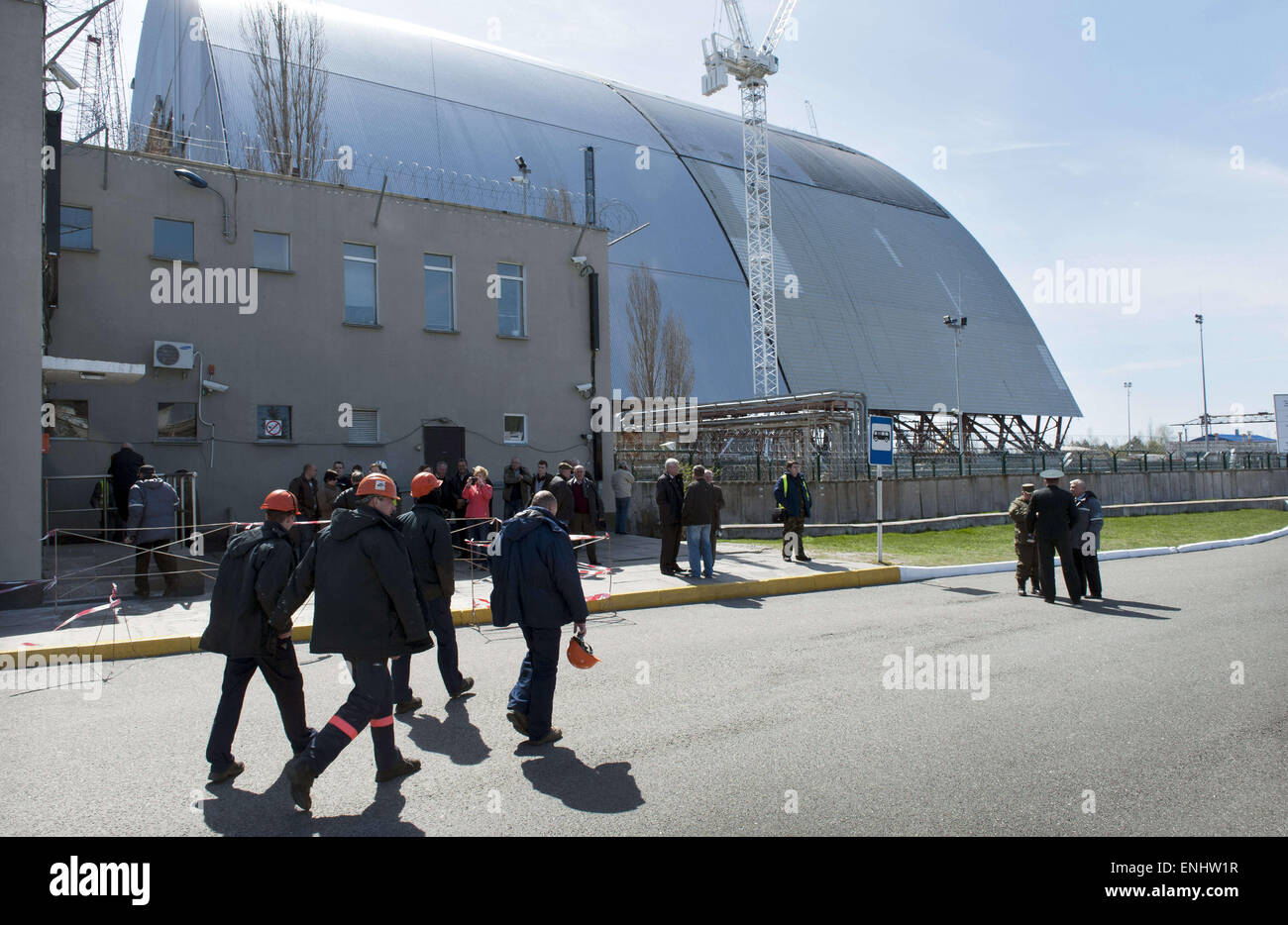 Chernobyl, Ukraine. 23rd Apr, 2015. A new secure dome will be built for the Chernobyl reactor number 4 damaged after - Stock Image