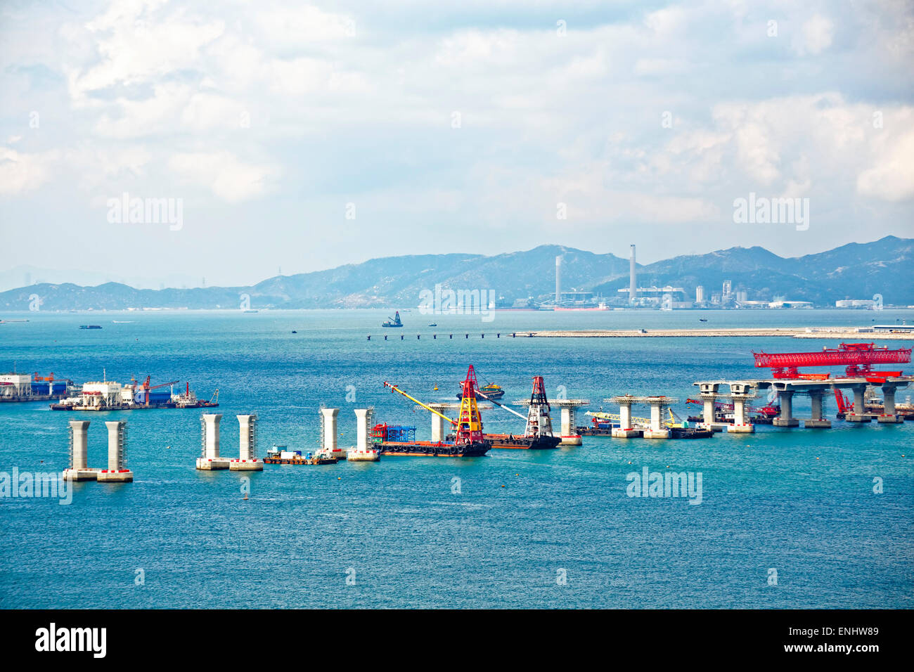 construction site of Hong Kong Zhuhai Macau Macao Bridge at day - Stock Image