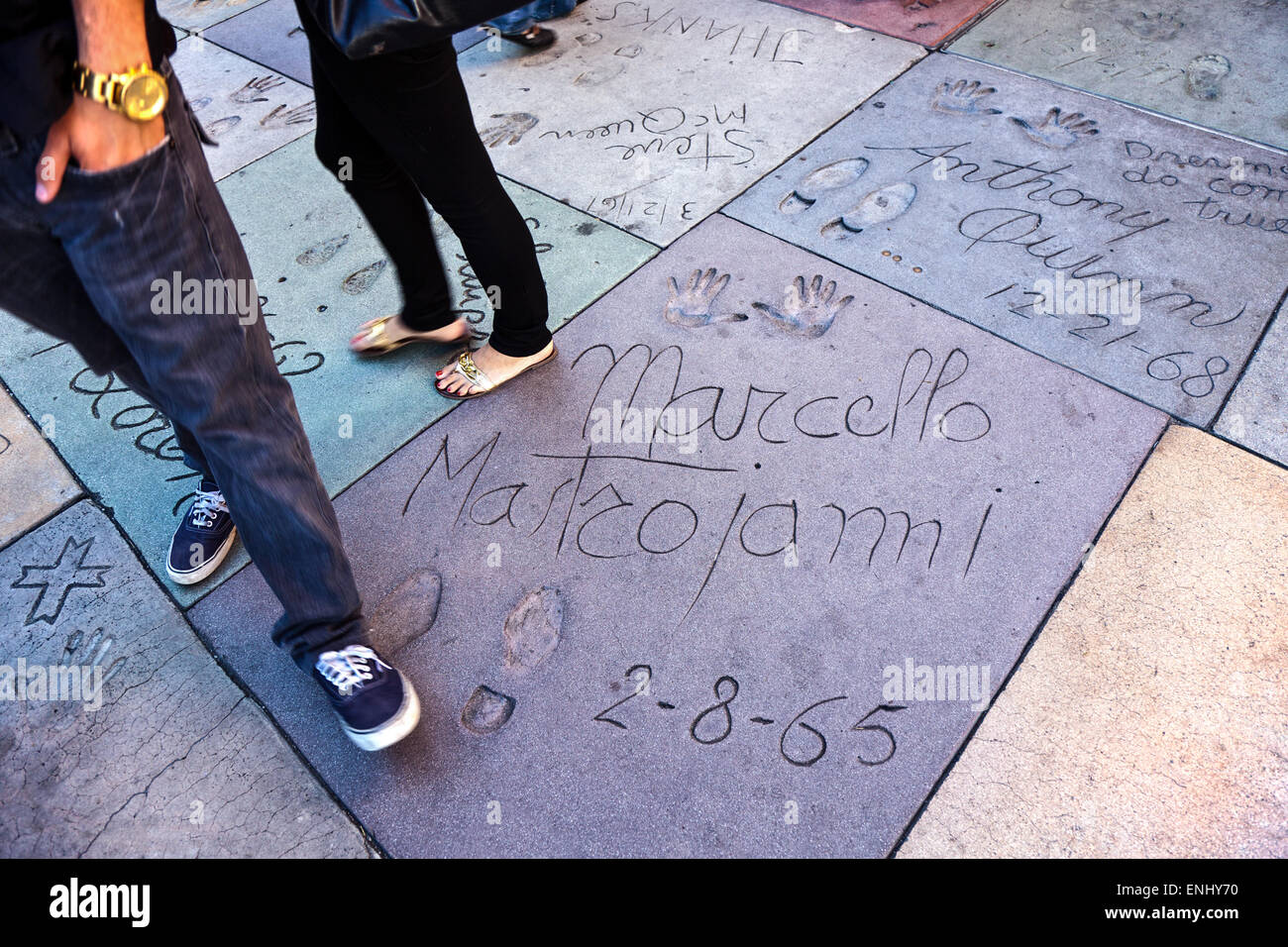 U.S.A., California, Los Angeles, Hollywood, hand and foot prints of celebrities outside the Grauman's Chinese - Stock Image