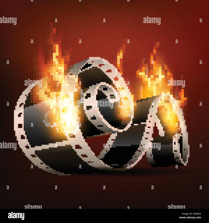 vector realistic film reel in burning style Stock Vector Art