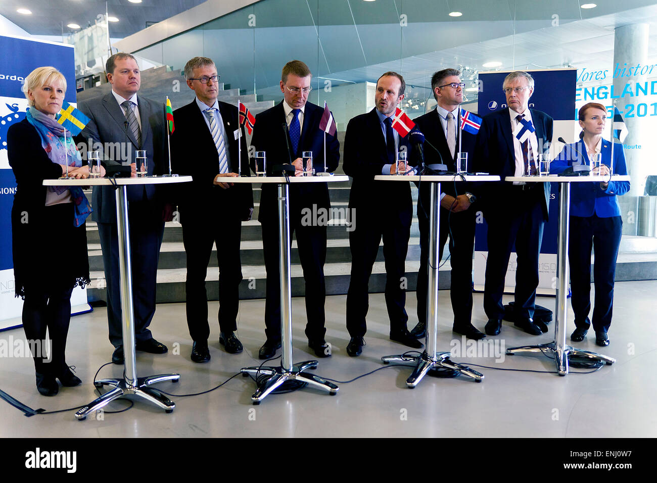 Elsinore, Denmark. 6th May, 2015. Nordic and Baltic foreign ministers holds a press conference. From left: Margot - Stock Image