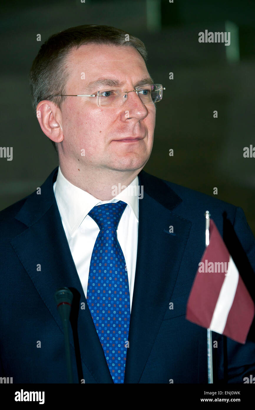 Elsinore, Denmark. 6th May, 2015. Latvian  Foreign minister, Mr. Edgars Rinkevics, pictured at the press conference - Stock Image