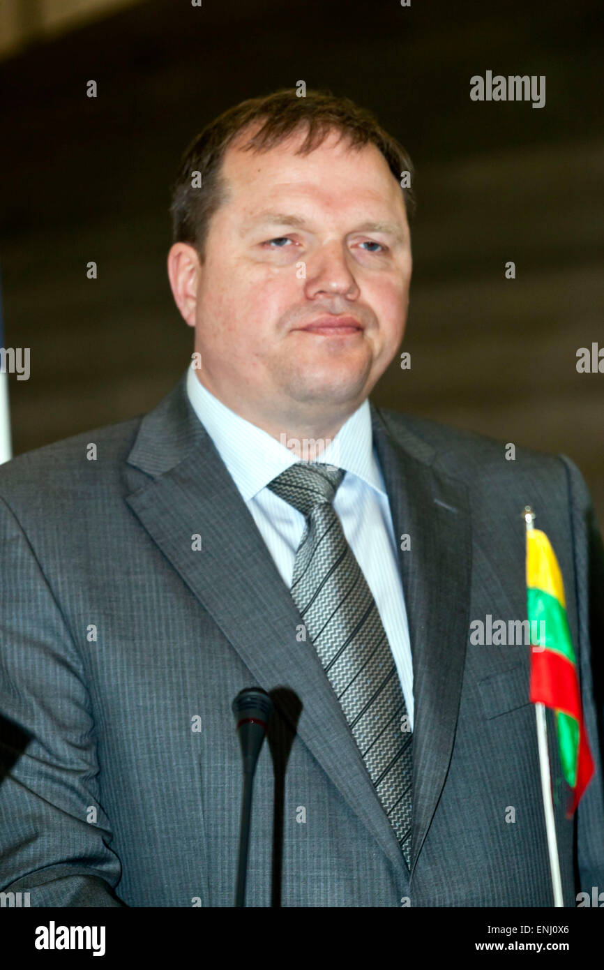 Elsinore, Denmark. 6th May, 2015. Lithuanian foreign minister, M. Linas Linkevicius, pictured at the press conference - Stock Image