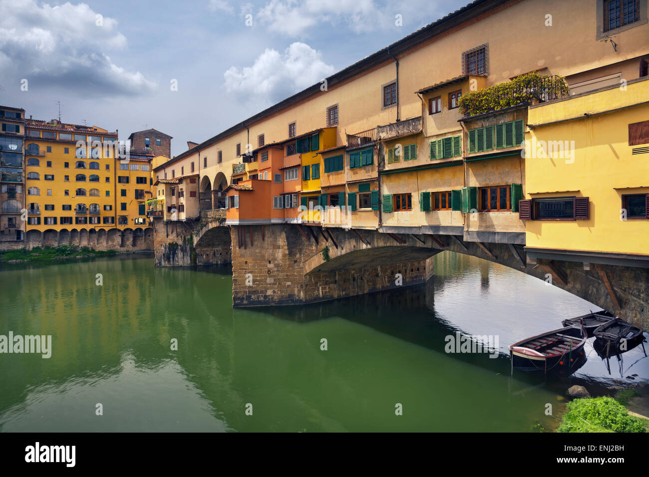 Florence. Image of Ponte Vecchio in Florence, Italy during spring day. - Stock Image
