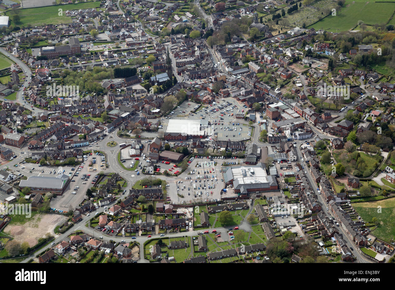 aerial view of Cheadle in Staffordshire, UK - Stock Image