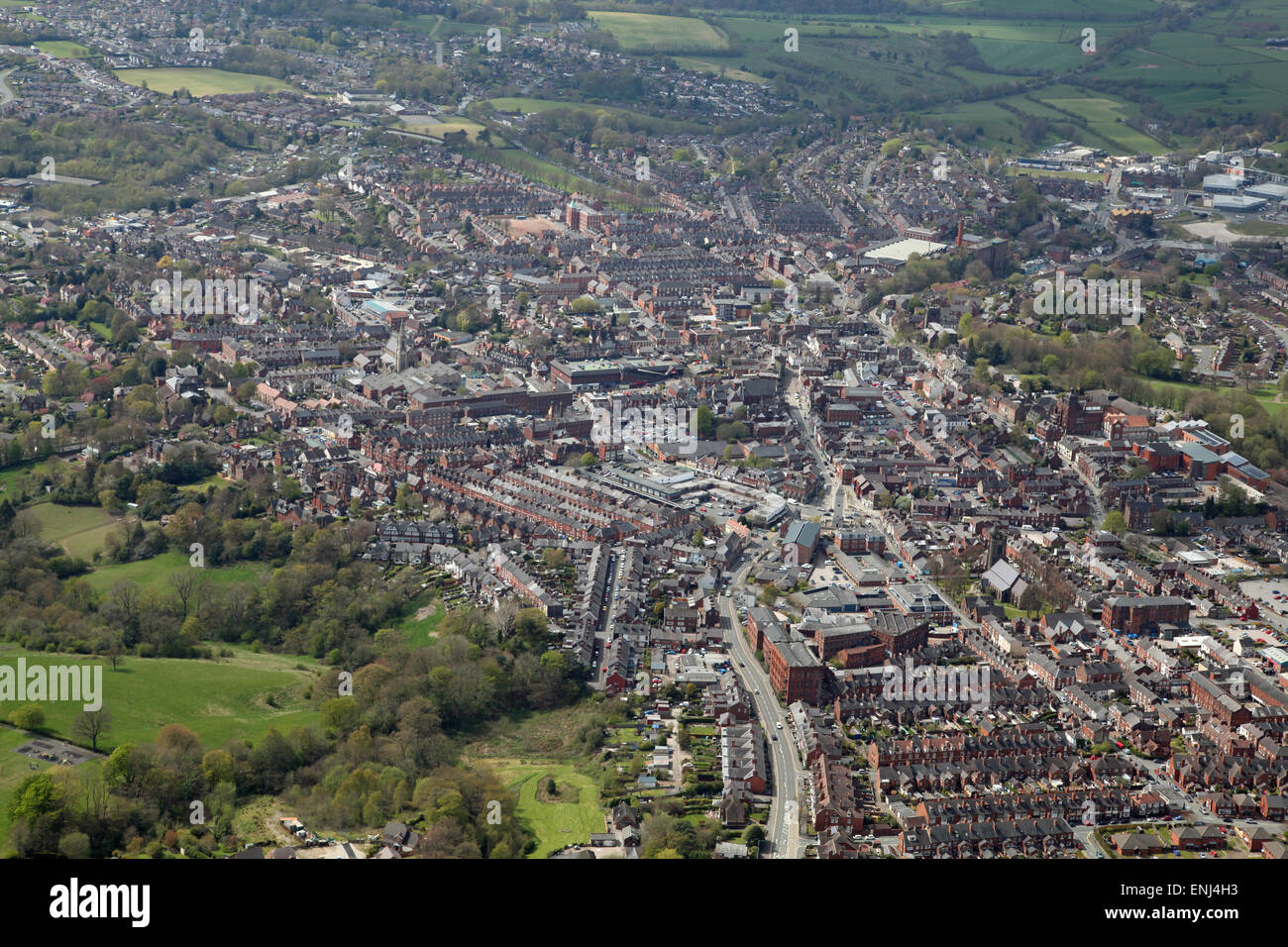 aerial view of the Staffordshire town of Leek, UK - Stock Image