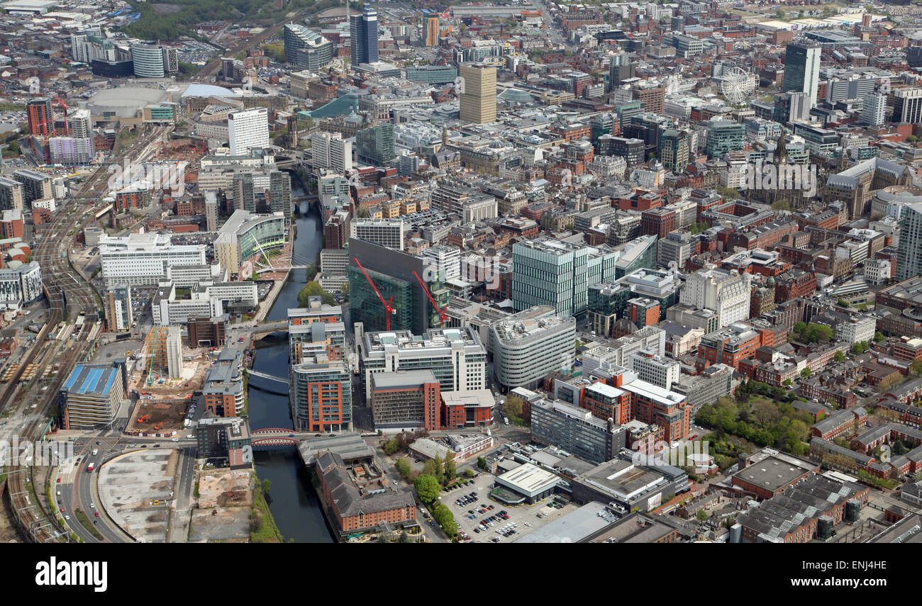 aerial view of Manchester city centre and River Irwell, UK - Stock Image