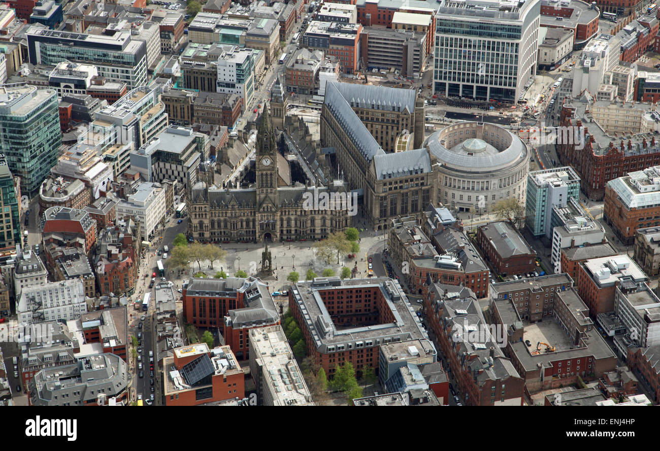aerial view of Manchester Town Hall and city centre, UK - Stock Image