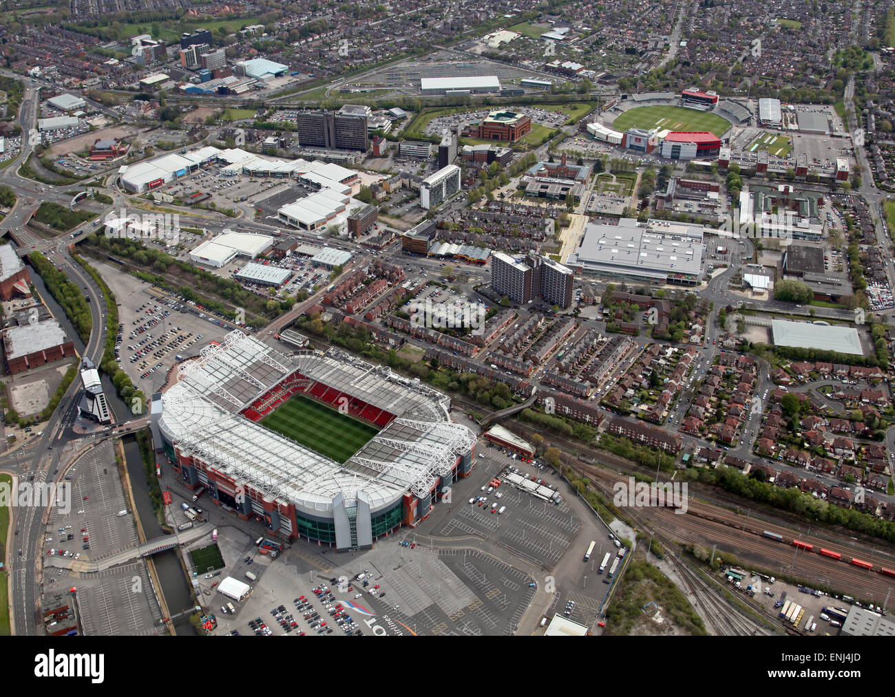 aerial view of Manchester United Old Trafford football ground and Lancashire County Cricket Club Stadium in the - Stock Image