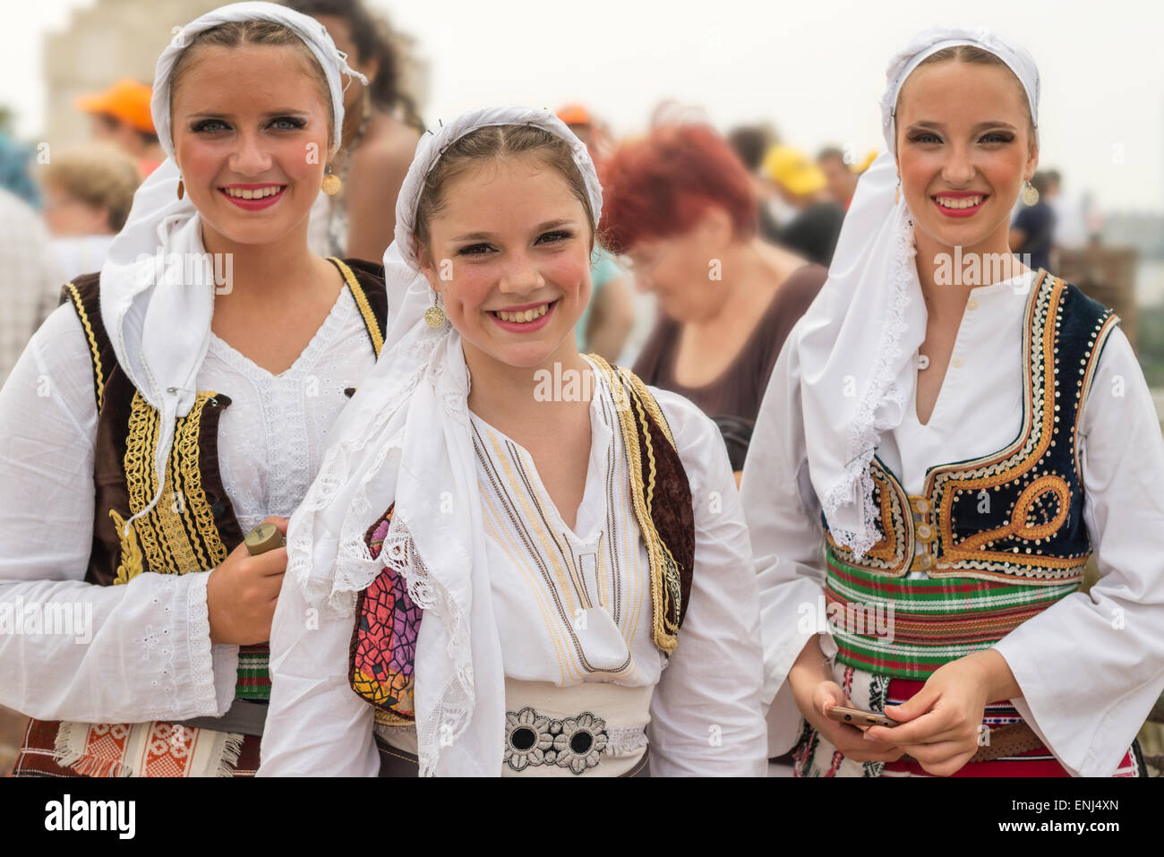 Young Girls in traditional Serbian folklore  dress,participants in the International folklore festival,Belgrade,Serbia - Stock Image