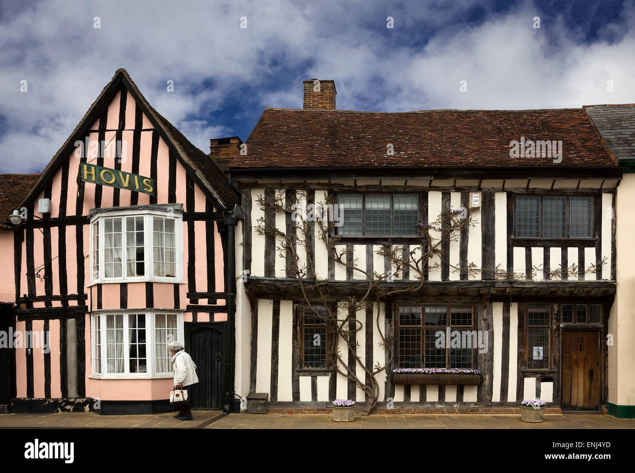 Half-timbered houses in Lavenham. - Stock Image