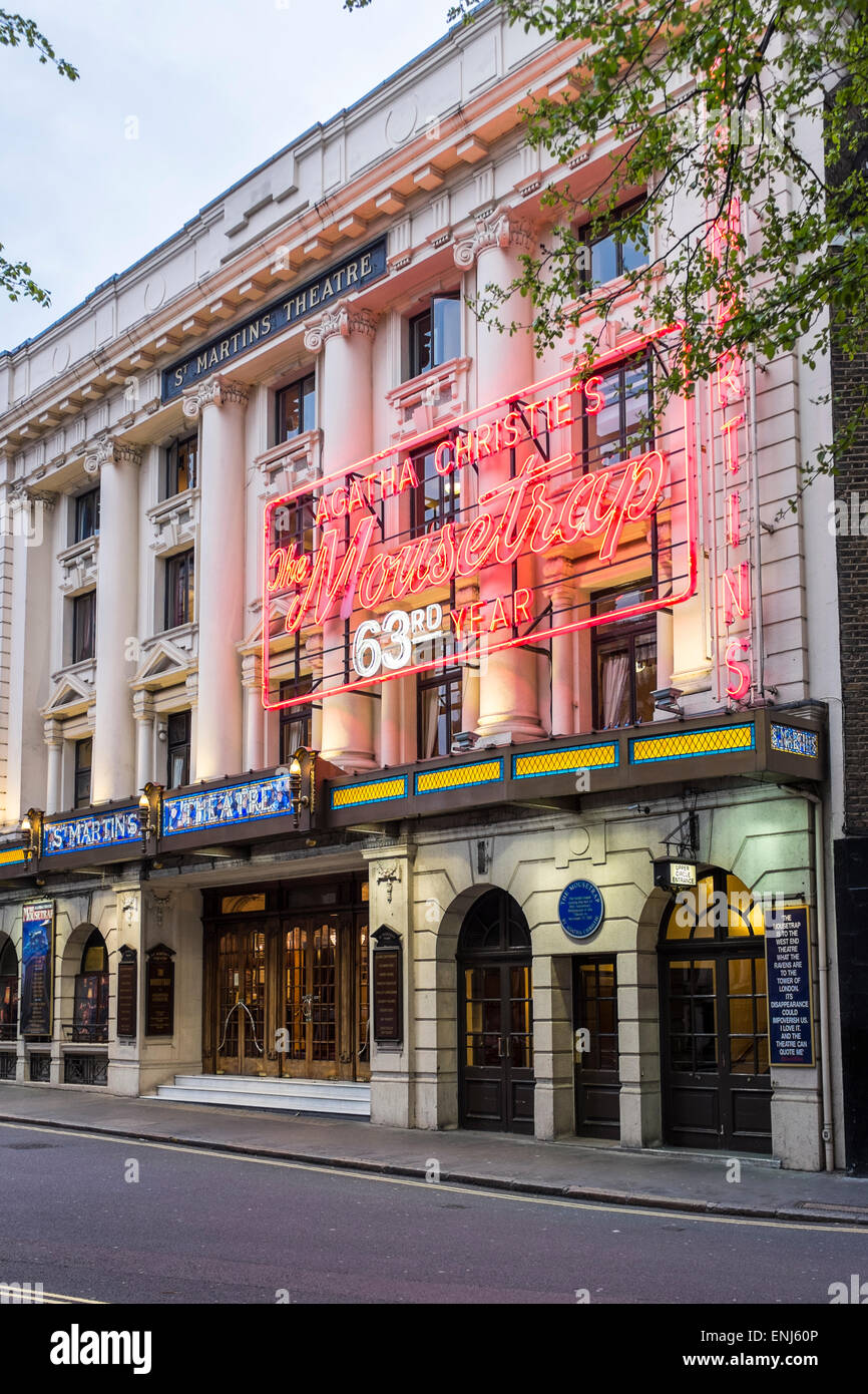 St. Martin's Theatre is a West End theatre which has staged the production of The Mousetrap since March 1974, - Stock Image