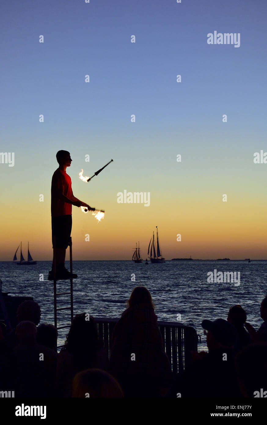 Sunset celebrations at Mallory Square. Florida Keys. USA - Stock Image
