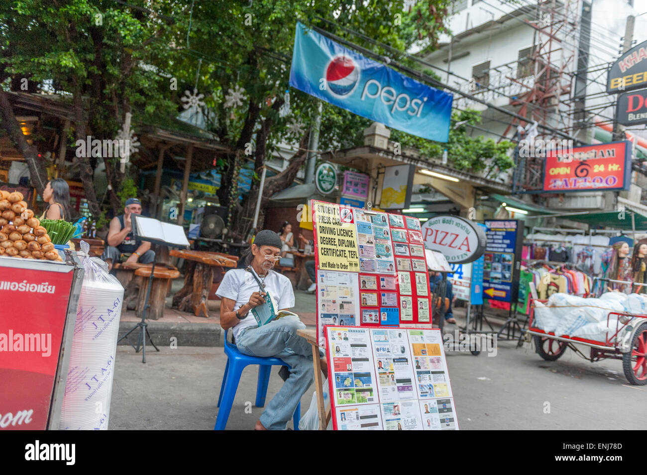 Thailand - Market Alamy Photo Bangkok Road San Id Stall 82150109 Stock Khao Fake