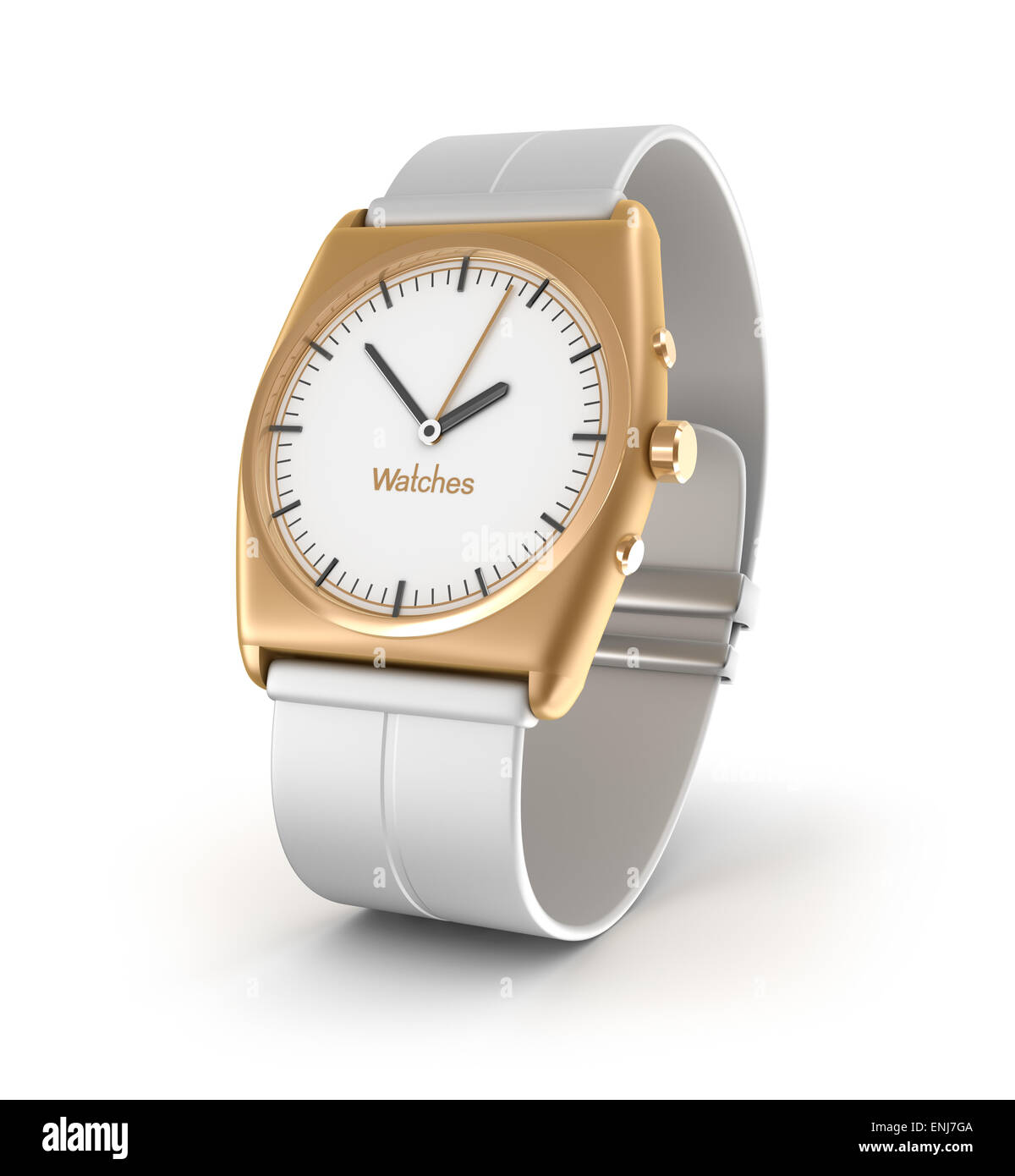 Luxury wrist watch in gold color isolated on white background. My own design - Stock Image