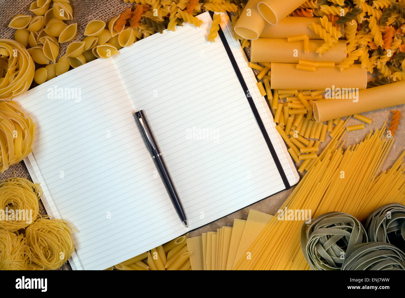 Italian Pasta - Blank Recipe Book pages with space for text - Stock Image