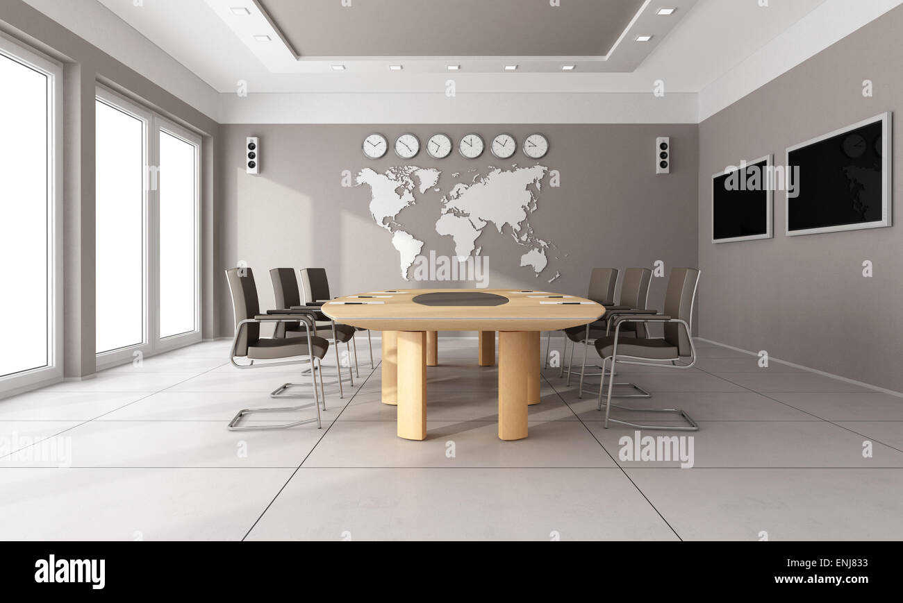 Contemporary Board Room With Wooden Tablebrown Hair And World Map - Floor to ceiling world map