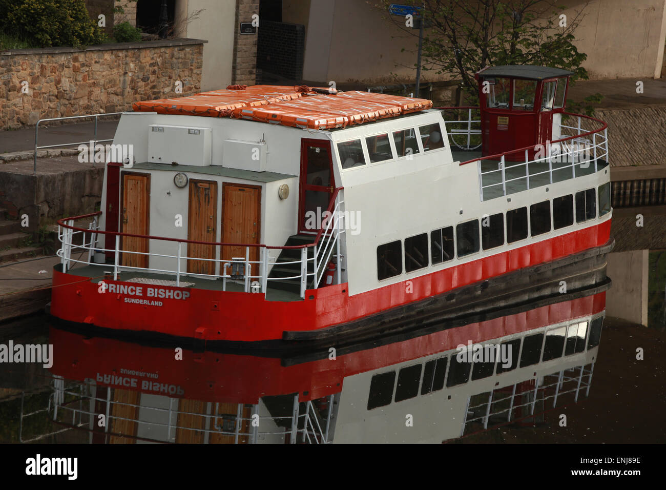 Prince Bishop pleasure boat on the River Wear Durham City Centre - Stock Image