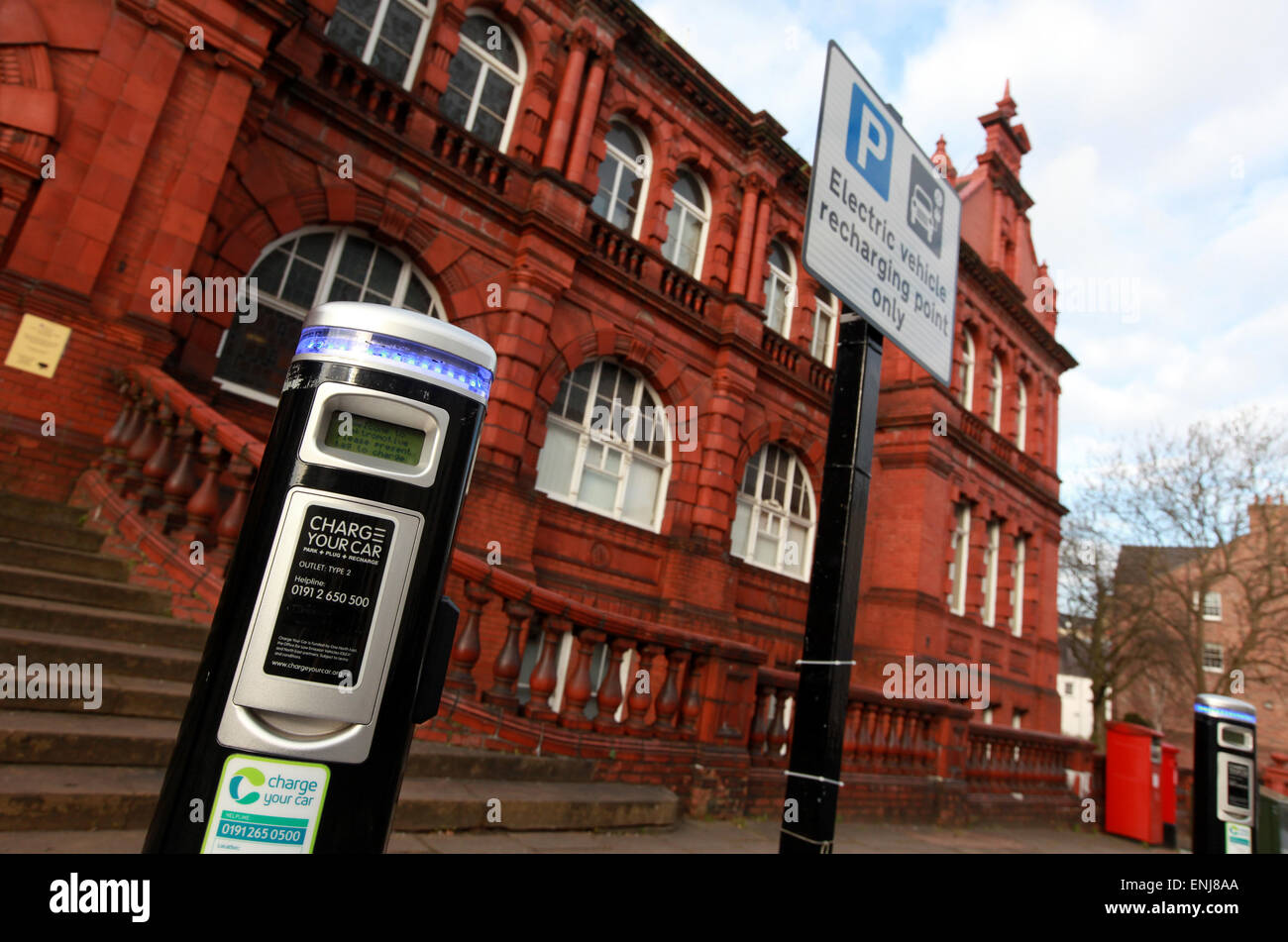 Electric car charging point outside Durham University offices Old Shire Hall Durham City Centre - Stock Image
