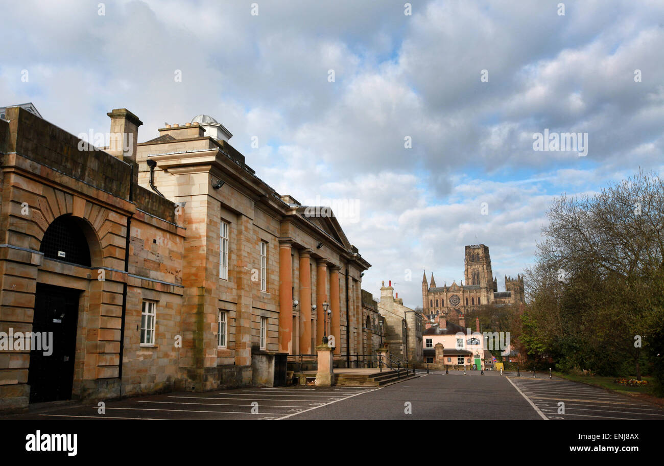 Durham Crown Court in Durham exterior with Durham Cathedral in the background - Stock Image