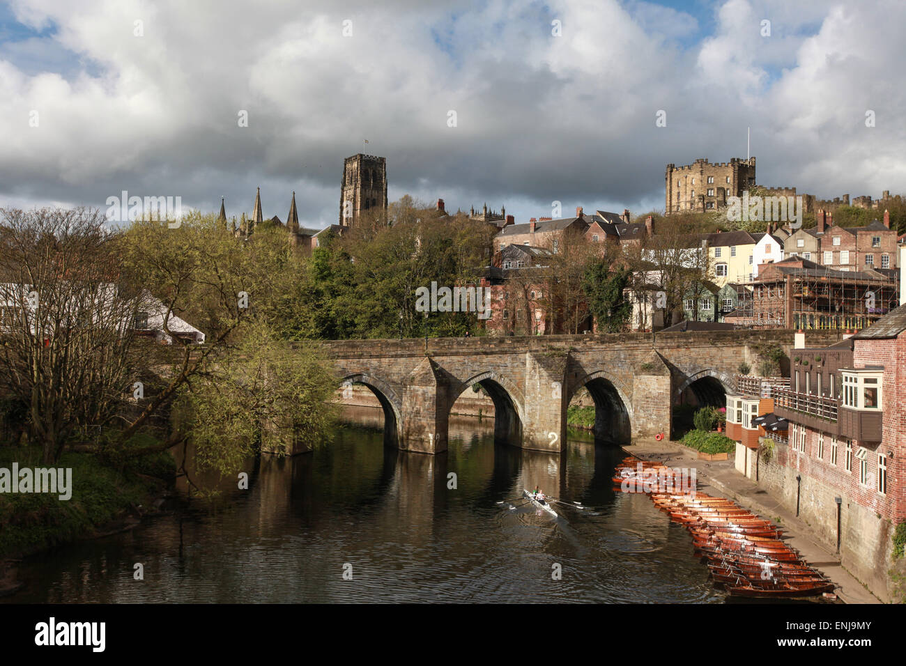 Elvet Bridge Durham City Over The River Wear With Durham Cathedral