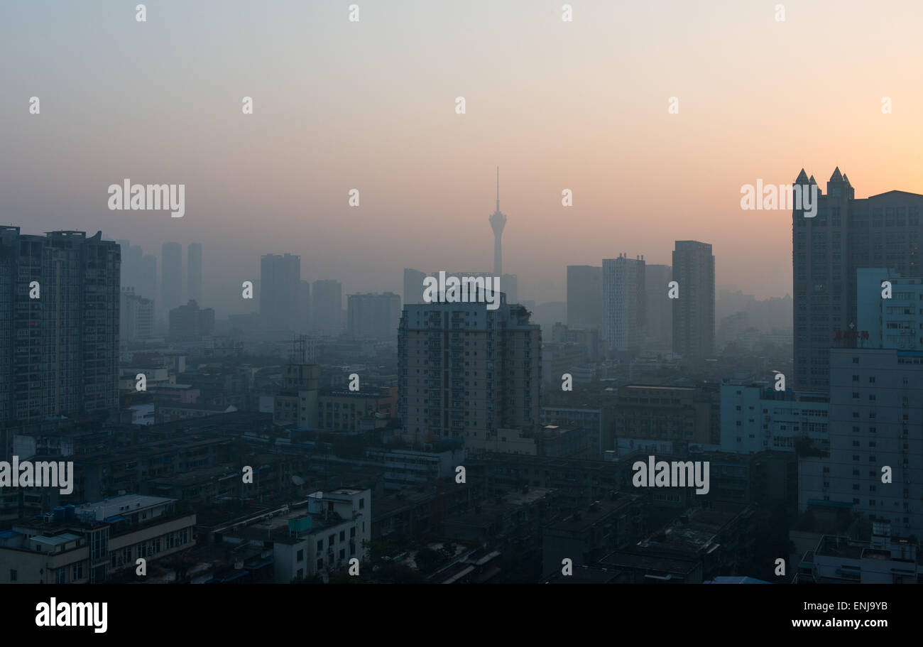 Sunrise in Chengdu, Sichuan, China - Stock Image