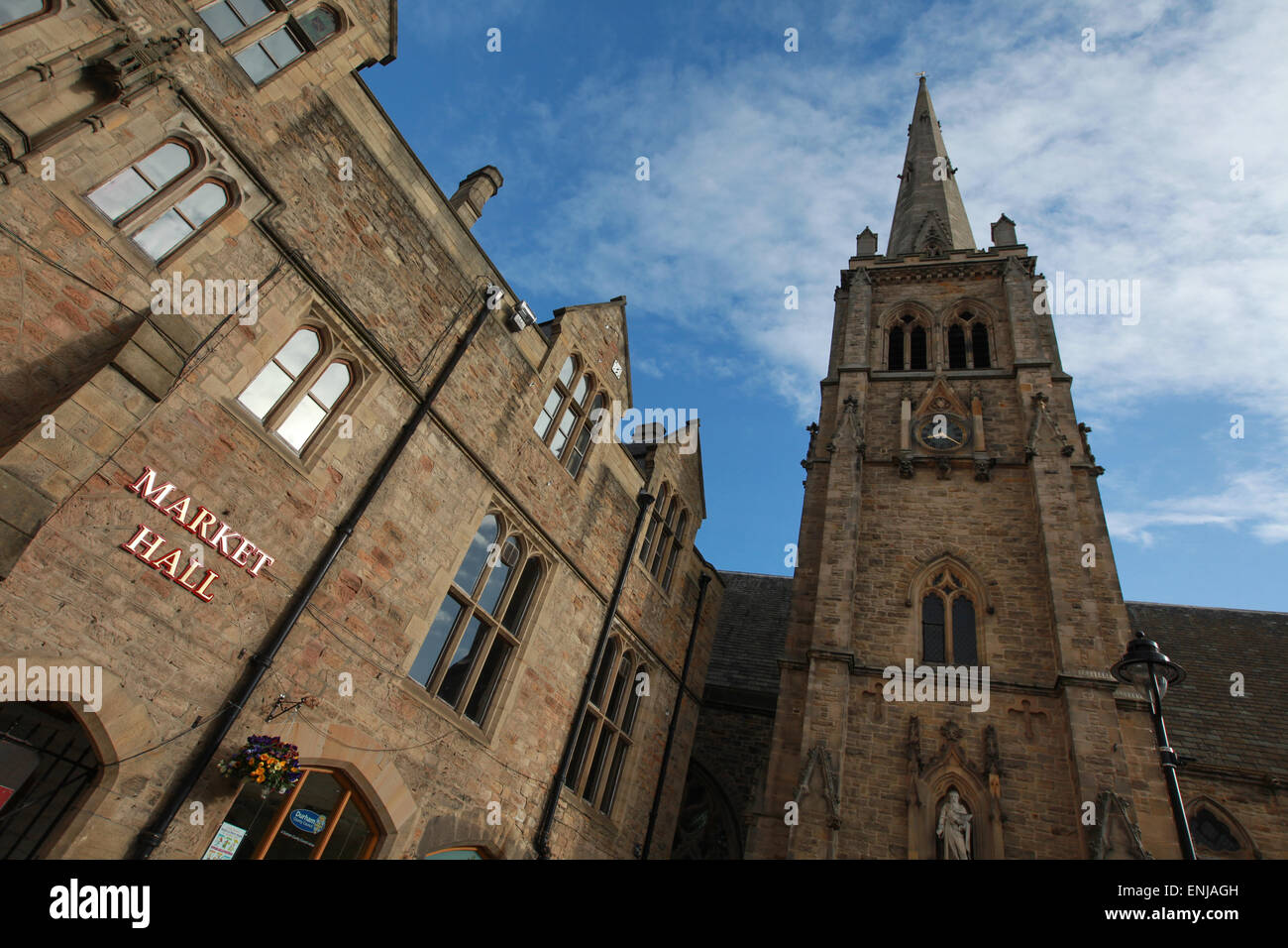 Durham Town hall, Market Hall and the Church of St Nicholas at Market Place Durham City Centre - Stock Image