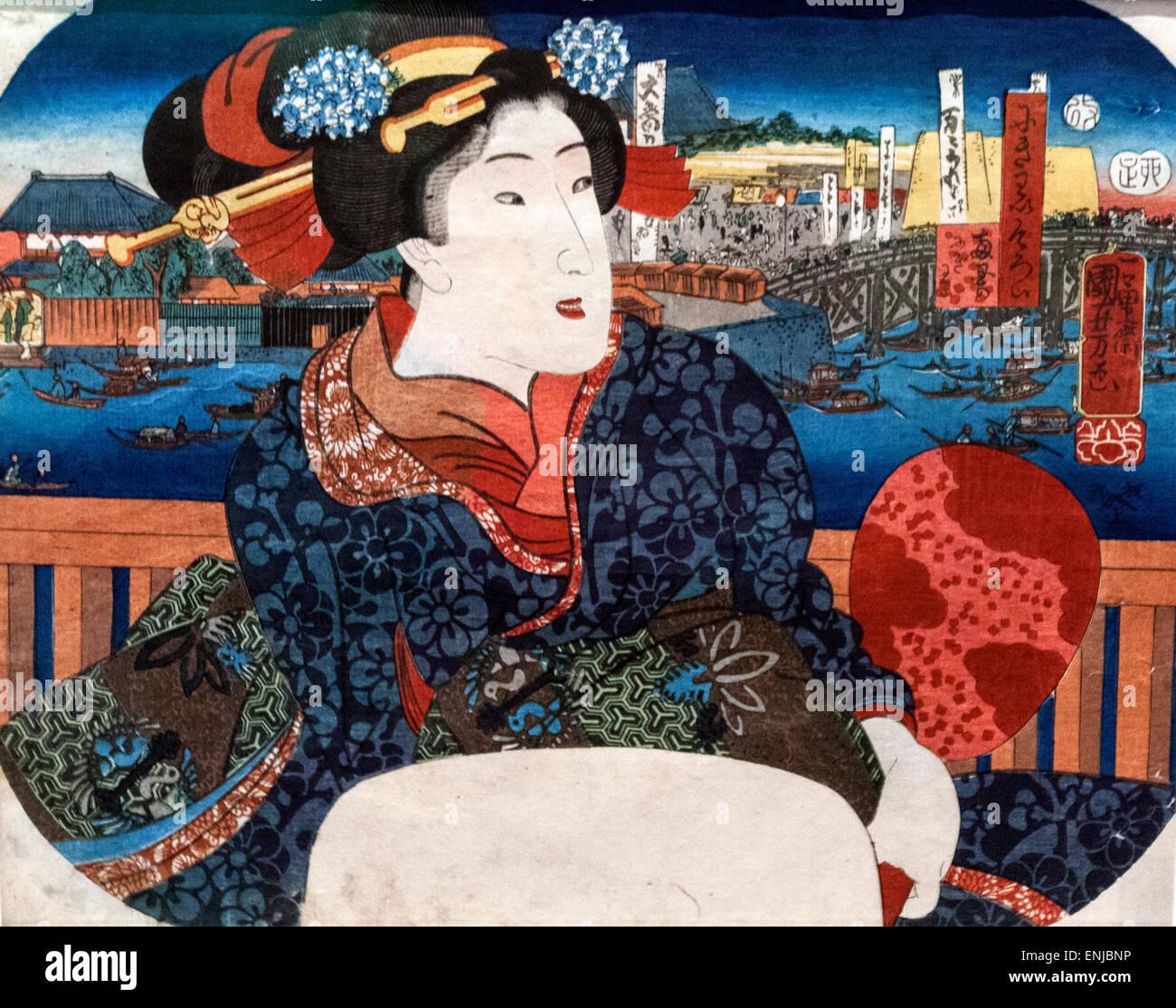 Exciting Places: Ryogoku, by Utagawa Kuniyoshi, Edo period, The Tokyo National Museum, or TNM, - Stock Image