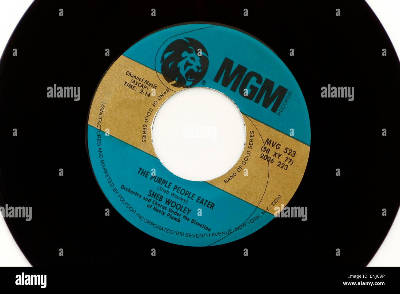 Vintage MGM 45rpm vinyl record with song title The Purple People Eater by SHEB WOOLEY Stock Photo