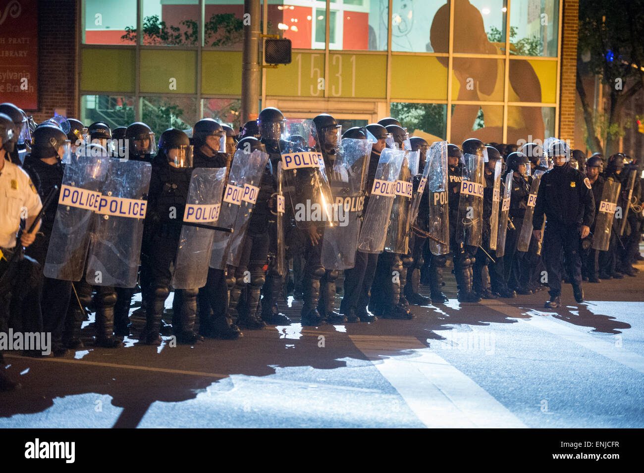 BALTIMORE, MARYLAND - After the death of Freddie Gray, West Baltimore erupted in riots and protests attempting to Stock Photo