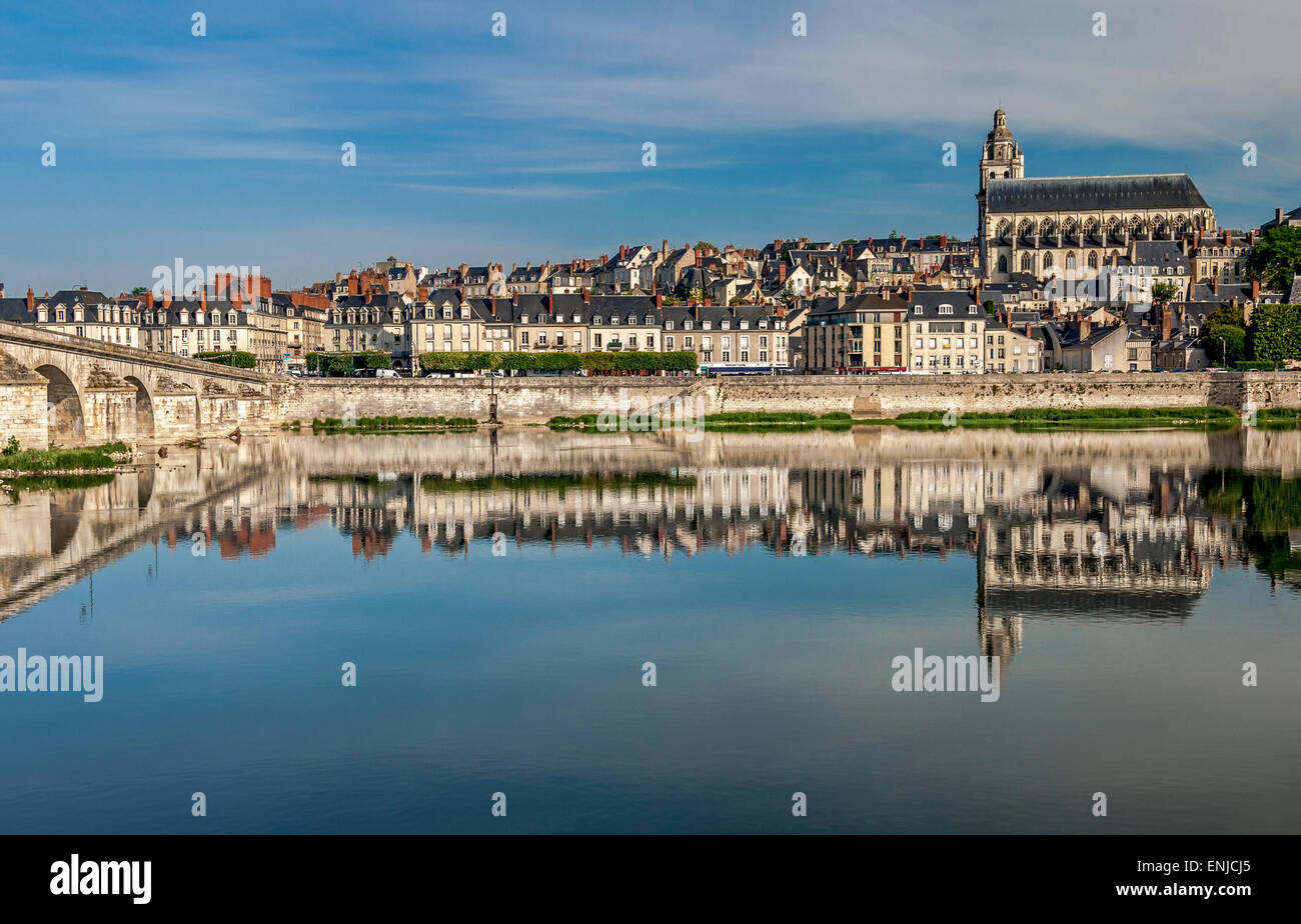 River Loire and cathedral, Blois in France - Stock Image