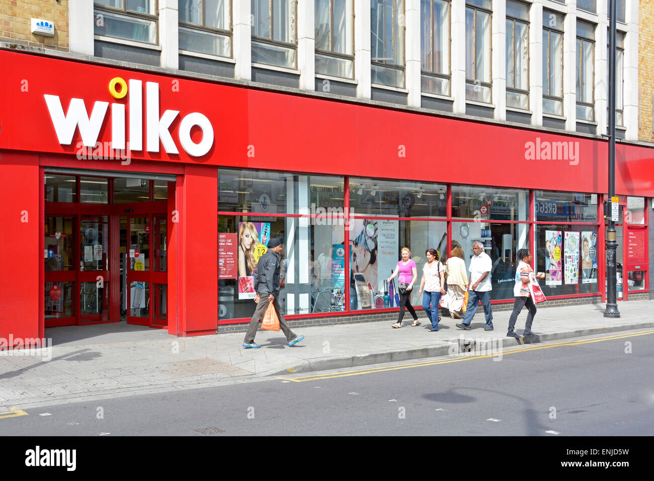 Wilko store front and windows (was known as Wilkinson Hardware Stores) - Stock Image