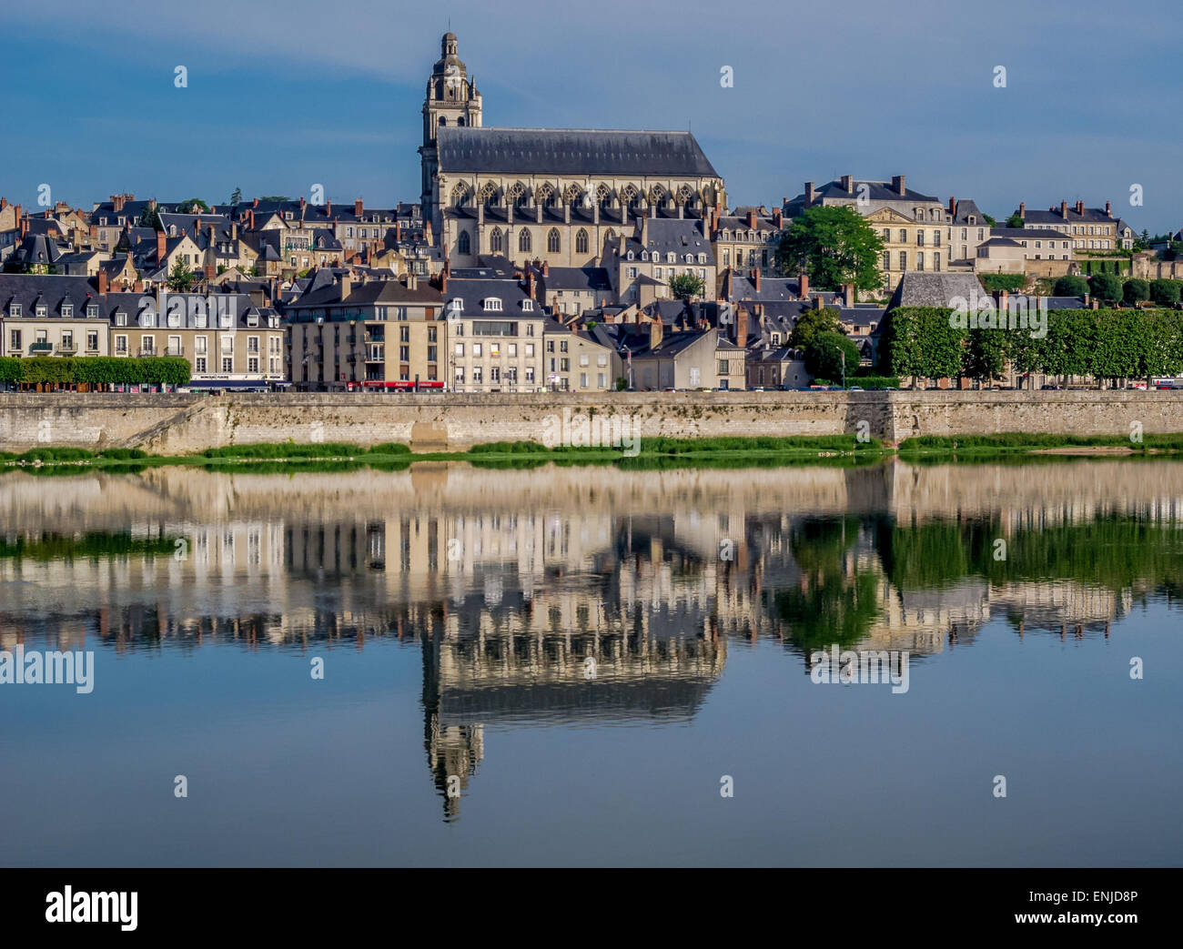 River Loire and Cathedral, Blois - Stock Image