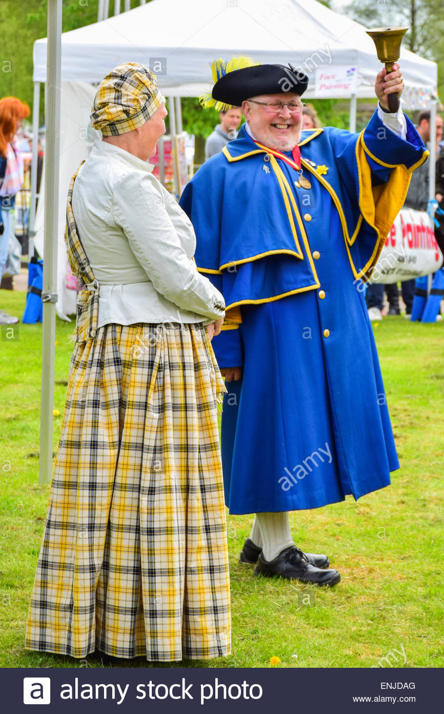 Competitor in the Town Crier competition at Ely on the May Bank Holiday weekend - Stock Image
