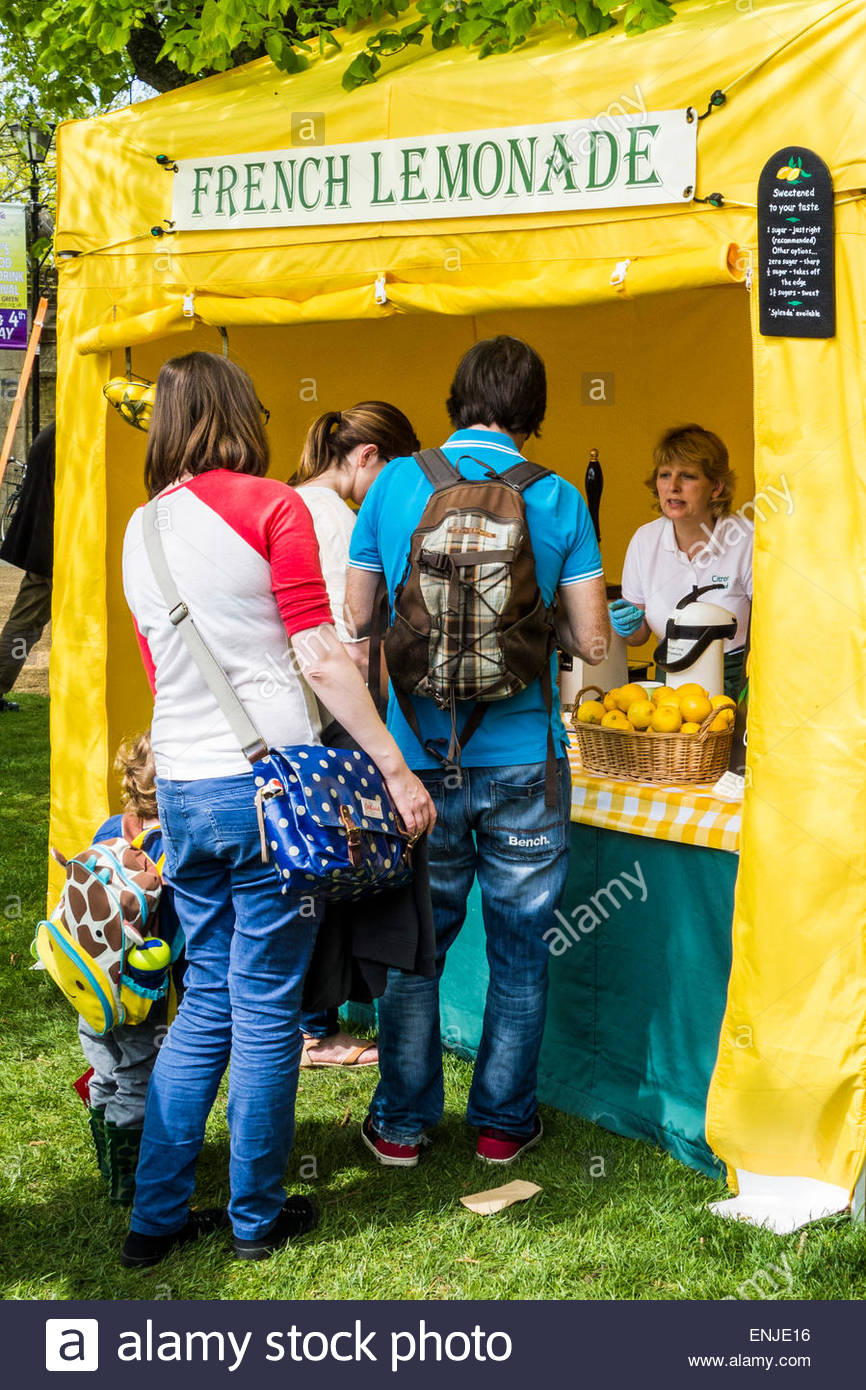 People queueing for French Lemonade at a drink stall at the Ely Food Festival, Ely, Cambridgeshire, England, UK - Stock Image
