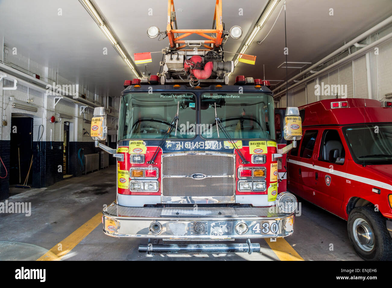 Firetruck in Montreal Plateau fire station, Canada - Stock Image