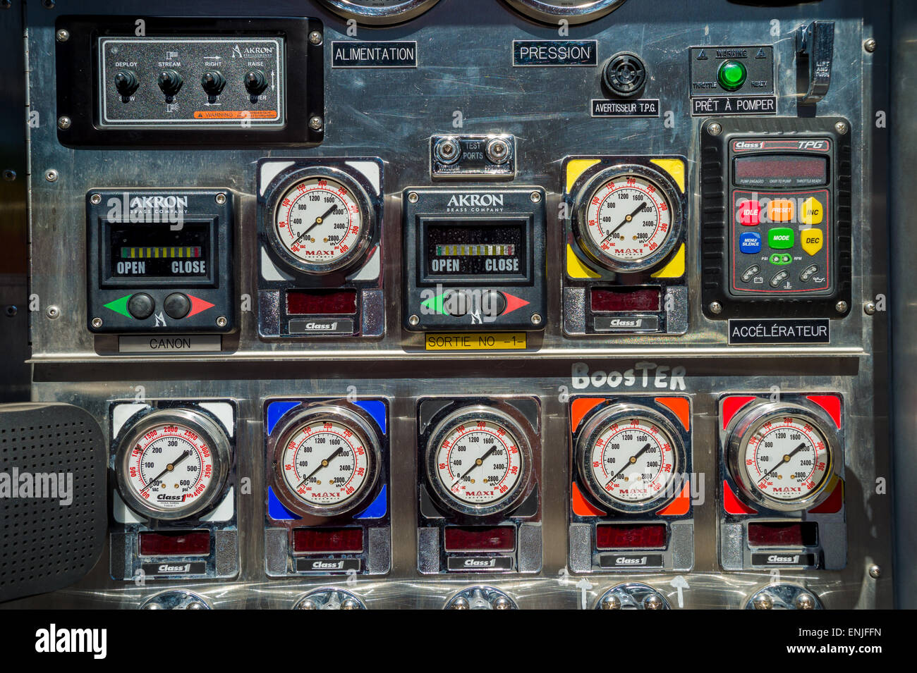 Fire truck control panel and valves - Stock Image