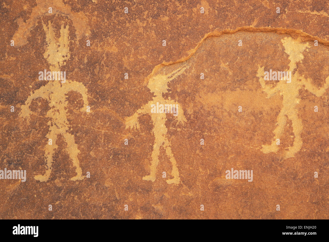 Anasazi Indian petroglyph, Chaco Culture National Historic Park, New Mexico - Stock Image