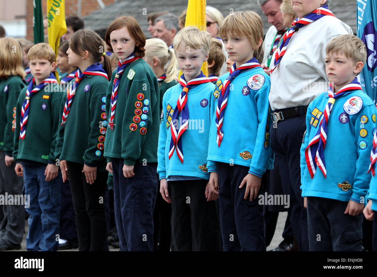 Scouts pictured on a march through Petworth on St Georges Day 2015, West Sussex, UK. - Stock Image