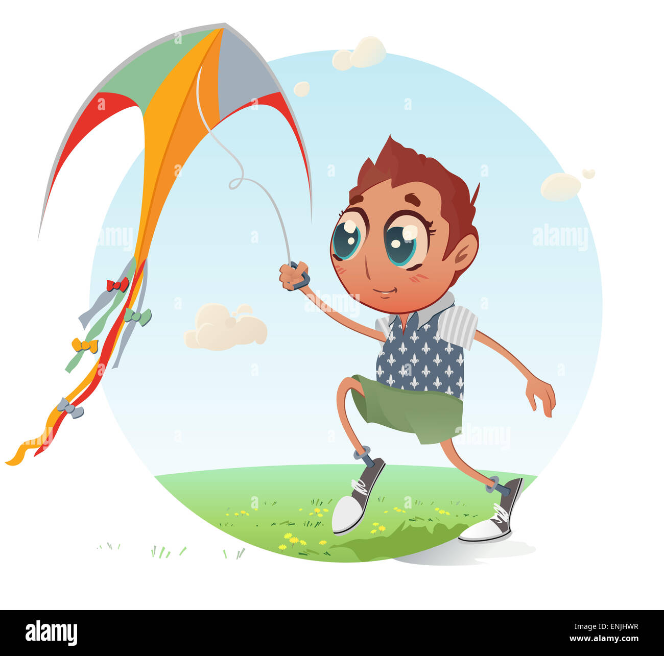 The vector illustration of the Little Boy flying a Kite into the Blue Sky. Childhood concept - Stock Image