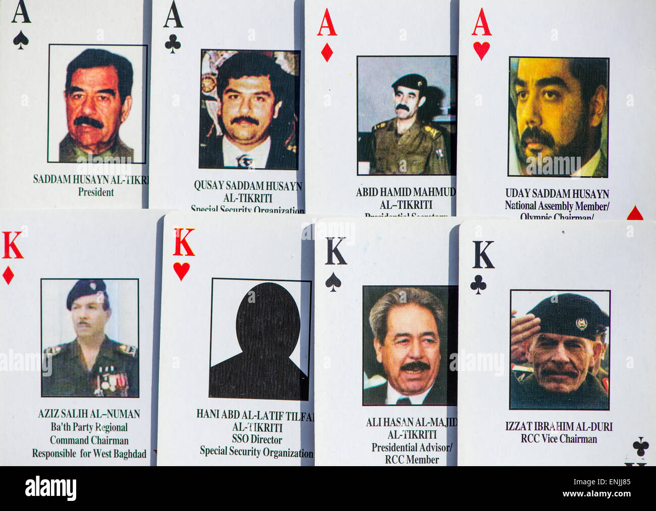 playing cards to identify members of the baath party in irak during the war with usa in 2003 - Stock Image
