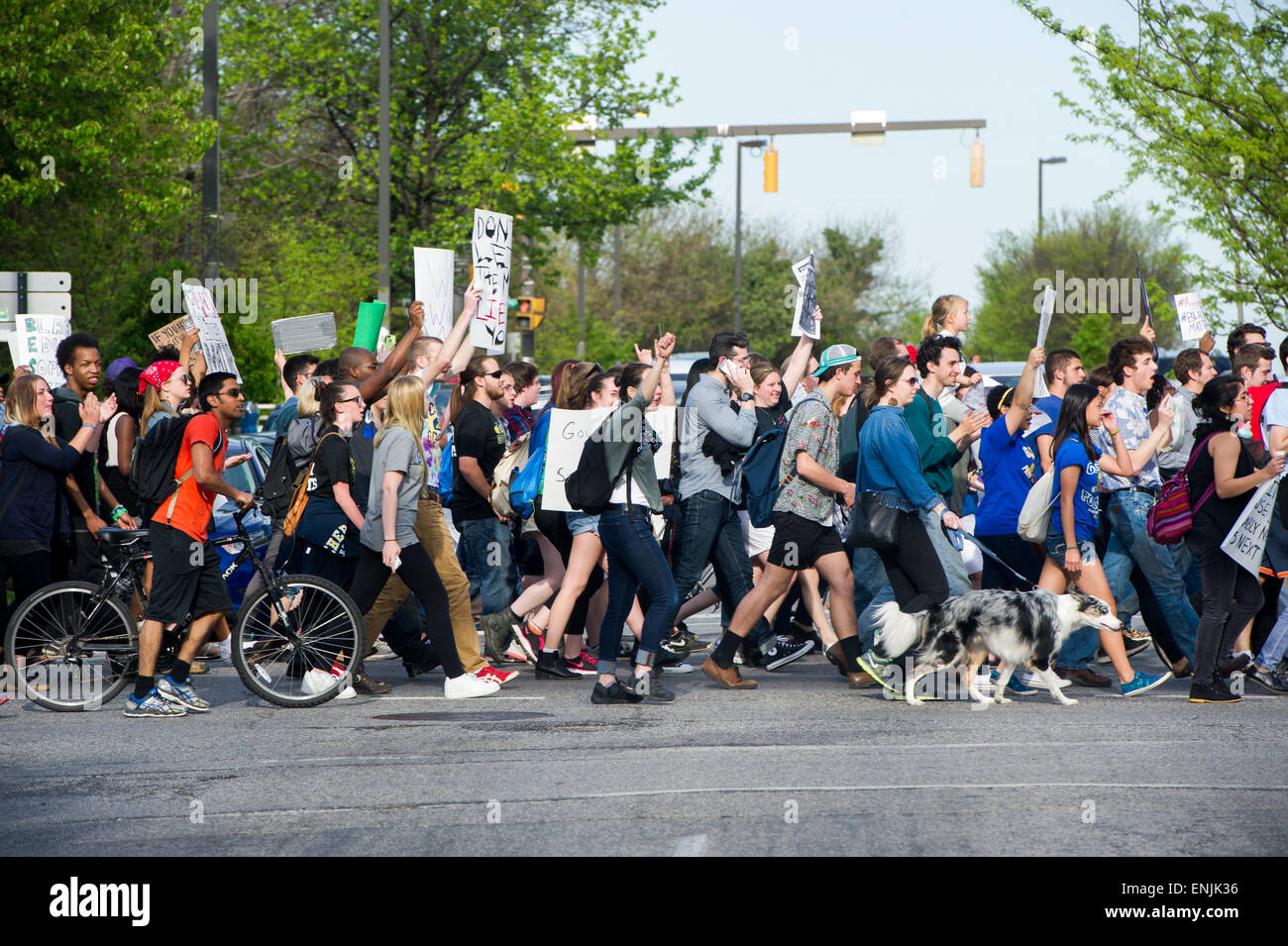 Baltimore demonstration protest march after Freddie Gray death - Stock Image