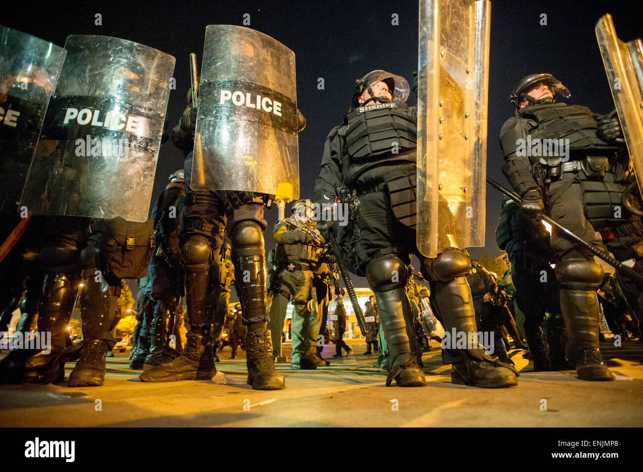 BALTIMORE, MARYLAND - Riot police controlling crowds  at Penn and North Ave, in west Baltimore after the death of - Stock Image